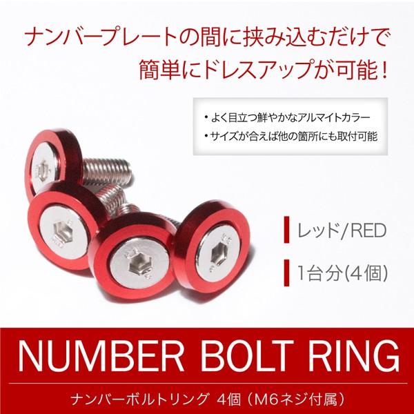ナンバーボルトリング レッド 赤 1台分(4個) ナン...