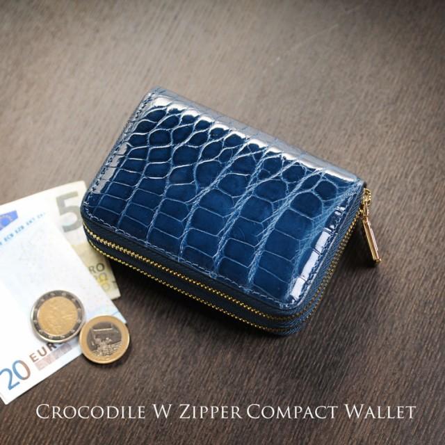 クロコダイル Wファスナー コンパクト財布 メンズ...