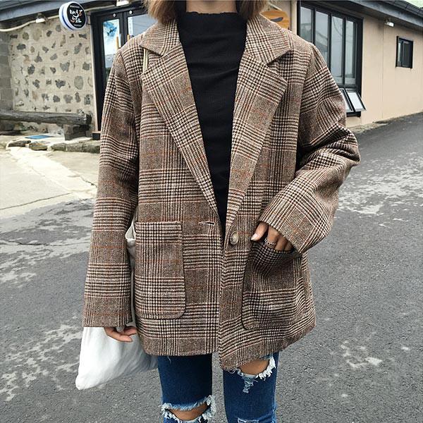 秋新作 グレンチェック ジャケット テーラードジャケット オーバーサイズ コート アウター レディース 秋冬 (jk072)