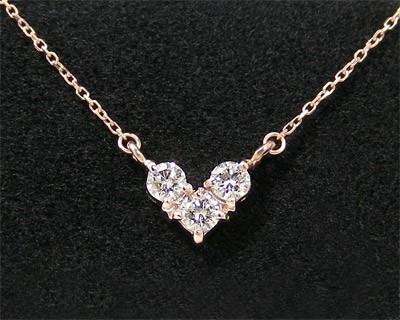 ダイヤモンド ハート ネックレス ピンクゴールド ...