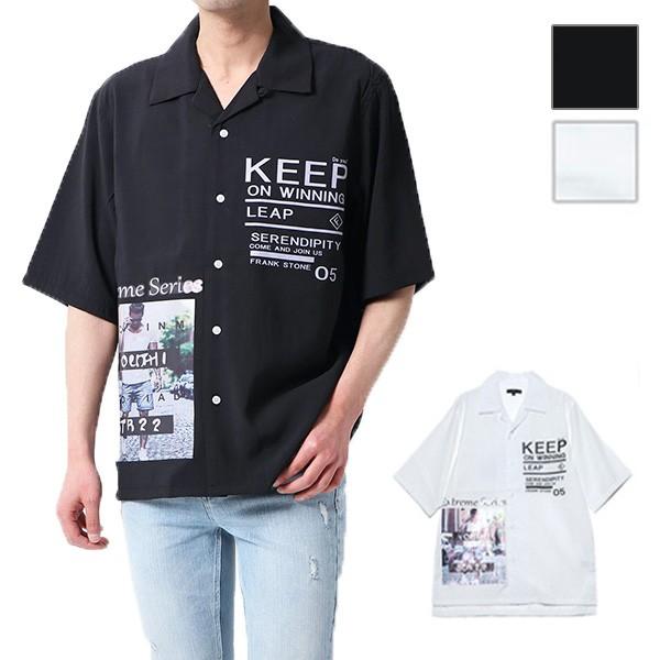 シャツ メンズ 半袖 5分袖 開襟 オープンカラー ...
