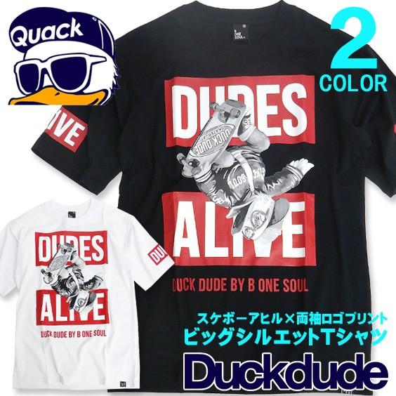 DUCK DUDE 半袖Tシャツ スケボーアヒルプリント T...