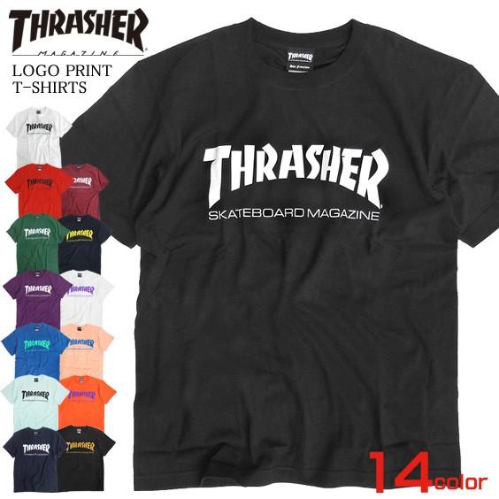 THRASHER Tシャツ ロゴプリント 半袖Tシャツ メン...