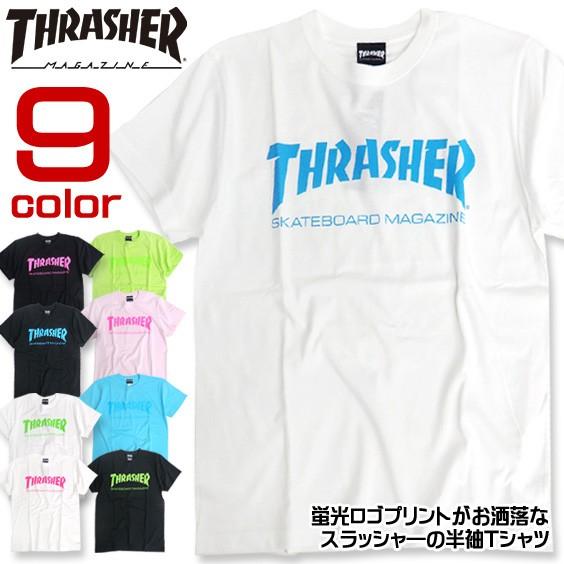 THRASHER Tシャツ 蛍光プリント 半袖Tシャツ スラ...