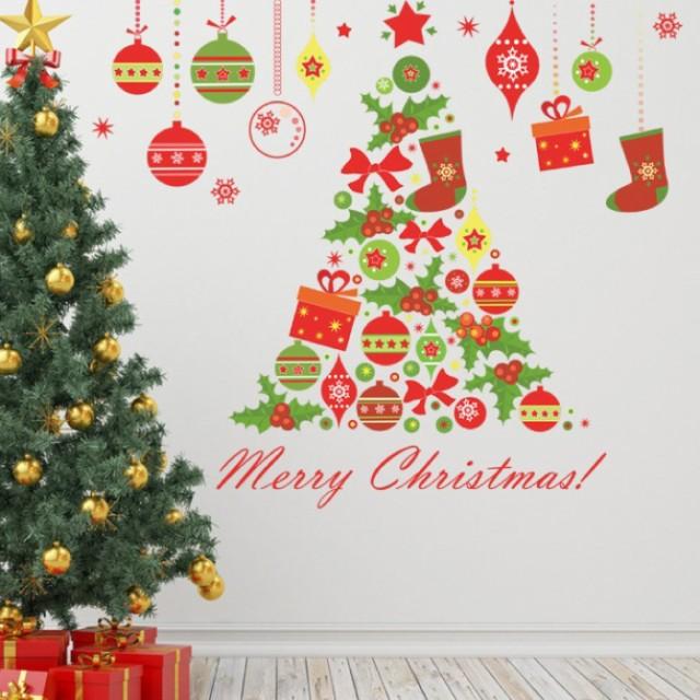 ウォールステッカー クリスマス 飾り ツリー 49×...