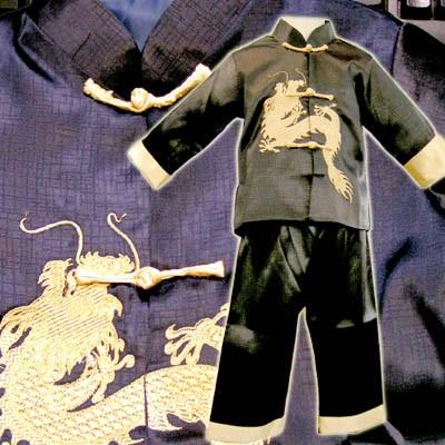 サテンドラゴン刺繍カンフースーツ8〜14才 ネコポ...