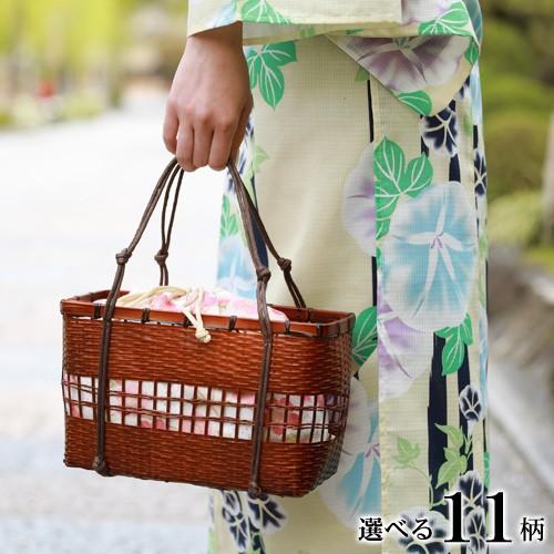 浴衣 かごバッグ【選べる11柄】ちりめん巾着竹かごバッグ 巾着 かご巾着 カゴバッグ 大人 夏祭り 収納力