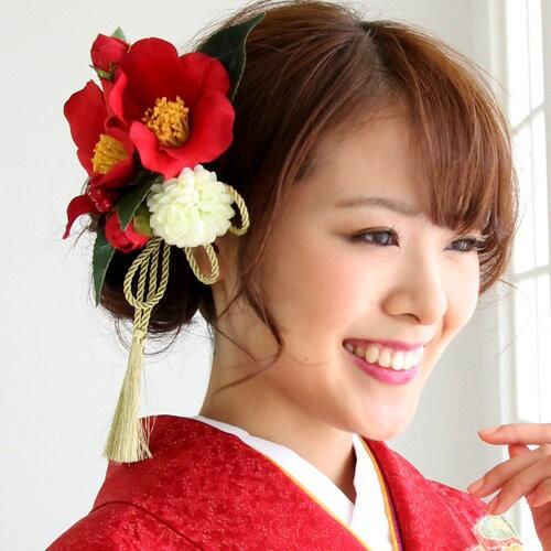 髪飾り 成人式 袴「椿2輪と丸菊の金タッセル付髪...
