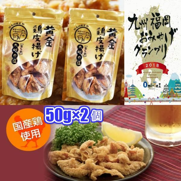 九州丸一食品 黄金鶏皮揚げ 九州の塩 50g×2個 鶏...
