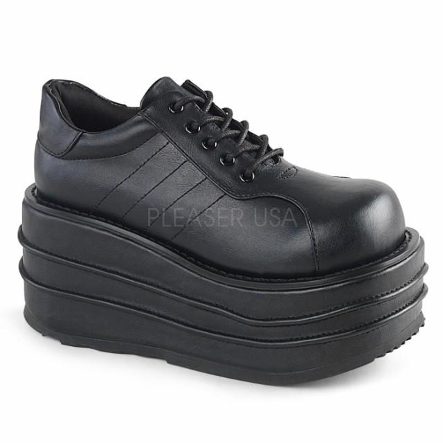 取寄せ靴 DEMONIA デモニア 厚底 シューズ 黒 ブ...