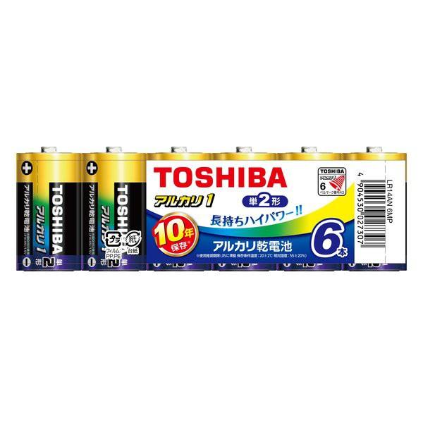 【メール便発送】東芝 アルカリ乾電池 単2形 6本...