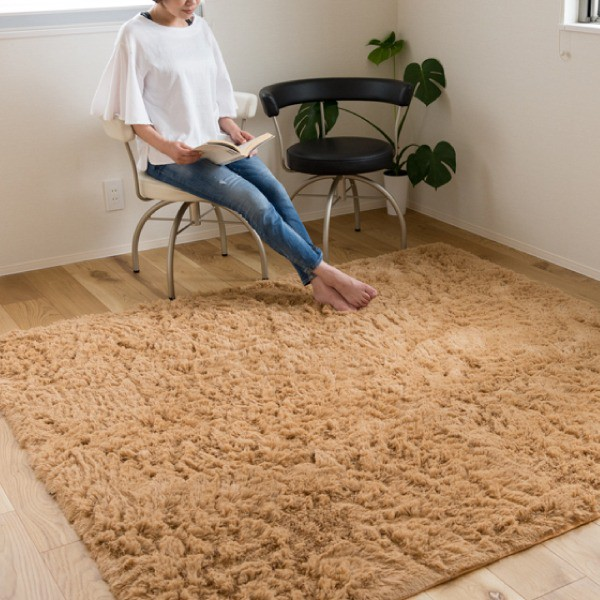 ロングパイル ラグマット/絨毯 〔ベージュ 約3畳...
