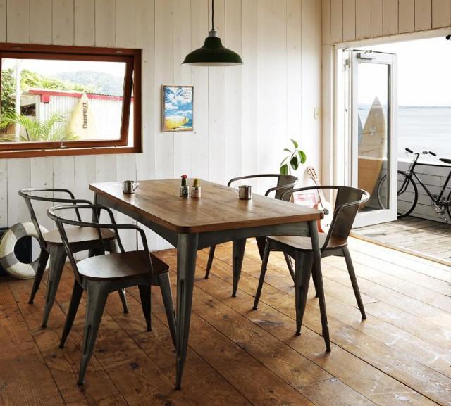 西海岸テイストヴィンテージデザインダイニング家具シリーズ〔Ricordo〕リコルド 5点セットA(テーブルW150+ラウンドフレームチェア4脚)