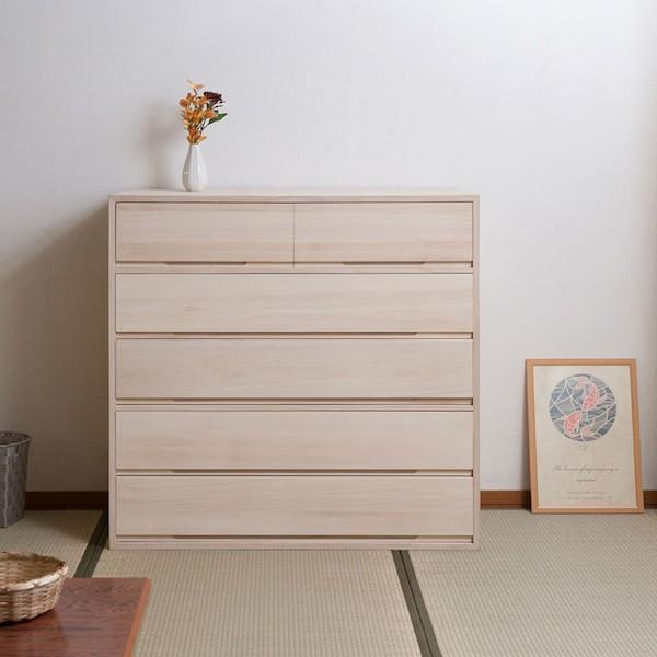 桐箪笥5段 白木 収納家具 タンス・チェスト 和タ...