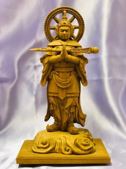 代引不可【韋駄天立像 葉偉混作】製作は木工彫刻大国中国を代表する ...
