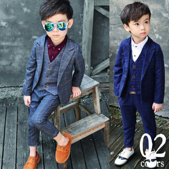 スーツ 子供 男の子 スーツ 3点セット パンツ ベ...