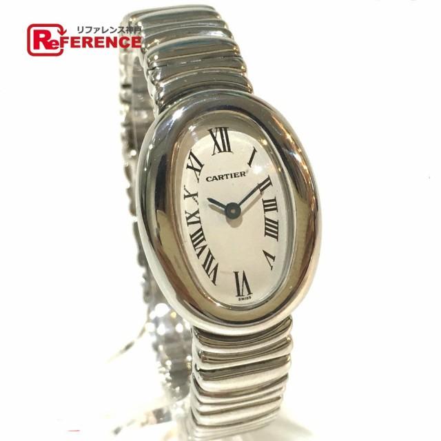 factory authentic 4a3b4 eb7ba あす着 CARTIER カルティエ W15189L2 ミニ ベニュワール 金属ベルト 腕時計 ホワイトゴールド