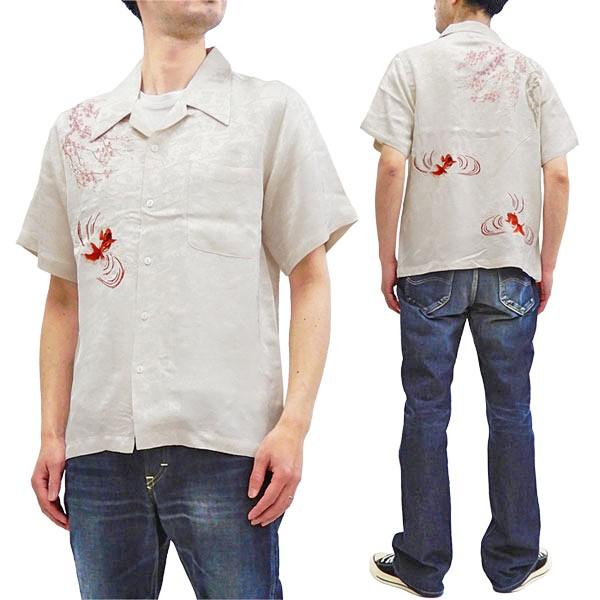花旅楽団 桜金魚刺繍 ジャガードシャツ SS-002 メ...
