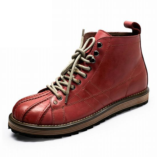 【送料無料】メンズ/本革ブーツ 革靴  レッド ...
