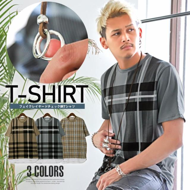 Tシャツ メンズ 半袖 チェック柄 ネックレス付き ...