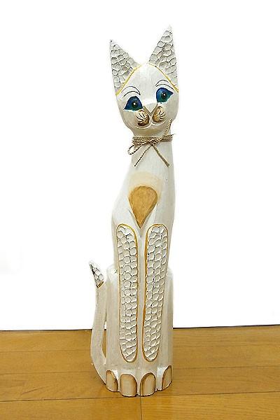 木彫り バリ ネコ 木製 猫 インテリア アンティー...