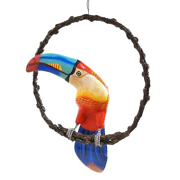 南国 カラフル バード 吊り下げ 木の枠 鳥 オレン...
