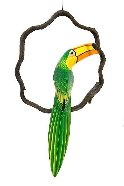 南国 カラフル バード 吊り下げ 木の枠 鳥 グリー...