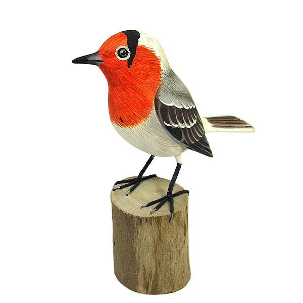 木彫りの小鳥たち B [小鳥約13cm]ハンドメイドア...