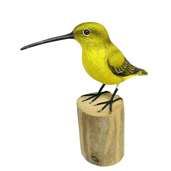 木彫りの小鳥たち D [小鳥約14cm]ハンドメイドア...