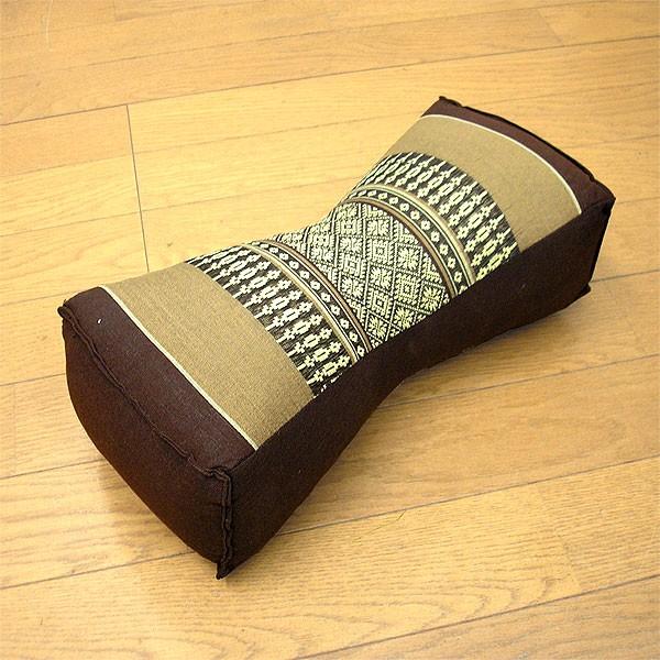 タイの枕 クッション枕 □タイプ くびれ型 ブラウ...