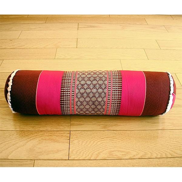タイの枕 ごろ寝枕 [直径約13cm×50cm] ピンクx...