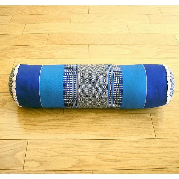 タイの枕 ごろ寝枕 [直径約13cm×50cm] ブルー系 ...