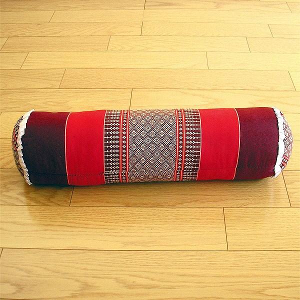 タイの枕 ごろ寝枕 [直径約13cm×50cm] 朱×えん...