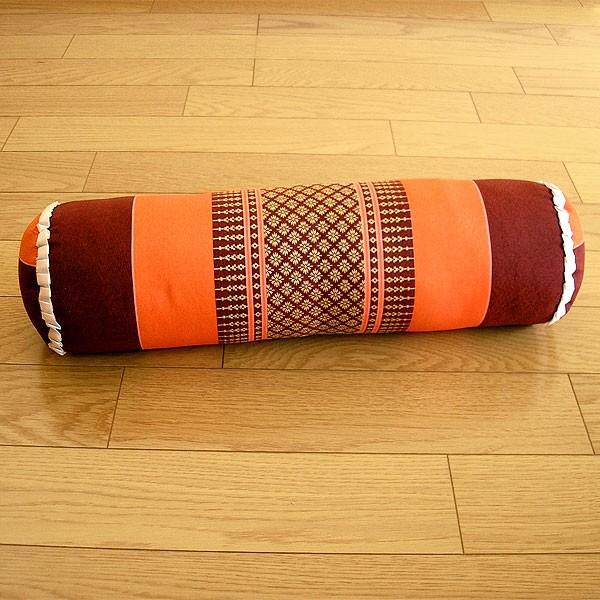 タイの枕 ごろ寝枕 [直径約13cm×50cm] オレンジ...
