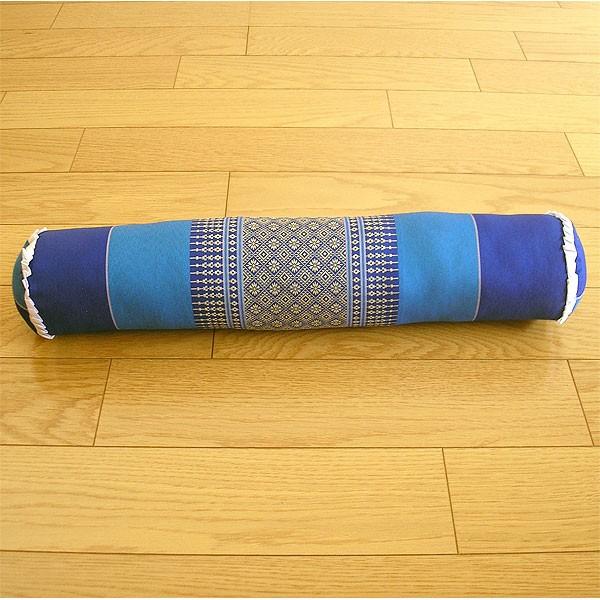 タイの枕 ごろ寝枕 [直径約8cm×50cm] ブルー系 ...