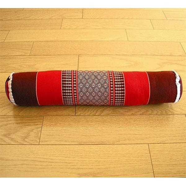 タイの枕 ごろ寝枕 [直径約8cm×50cm] 朱×えんじ...