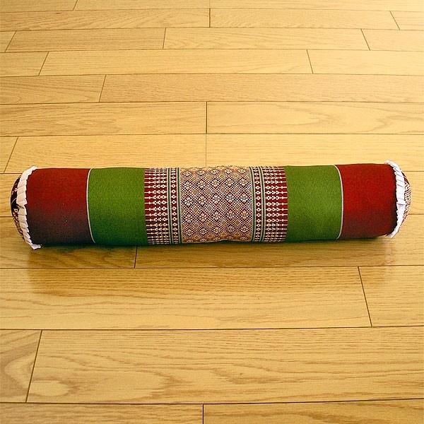 タイの枕 ごろ寝枕 [直径約8cm×50cm] グリーン×...