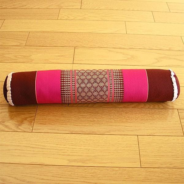 タイの枕 ごろ寝枕 [直径約8cm×50cm] ピンク×え...
