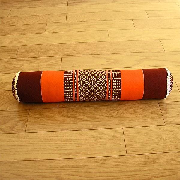 タイの枕 ごろ寝枕 [直径約8cm×50cm] オレンジx...