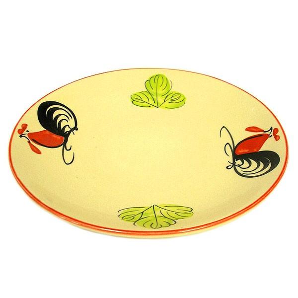 にわとり柄の大皿 丸皿 [直径約23.5cm] ローカル...