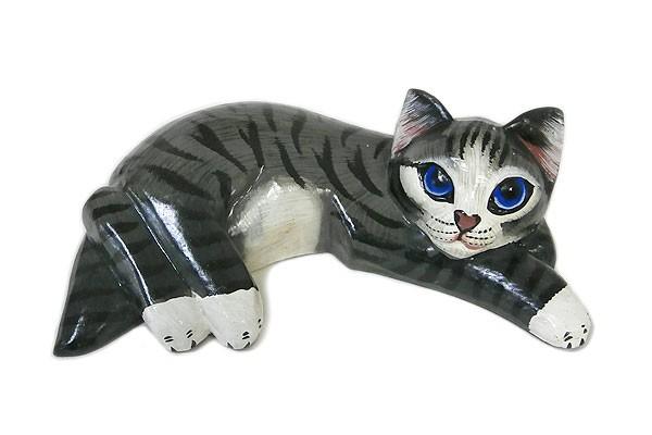 木製 横向き ネコ 木彫り ねこ グレー 木製 ネコ ...