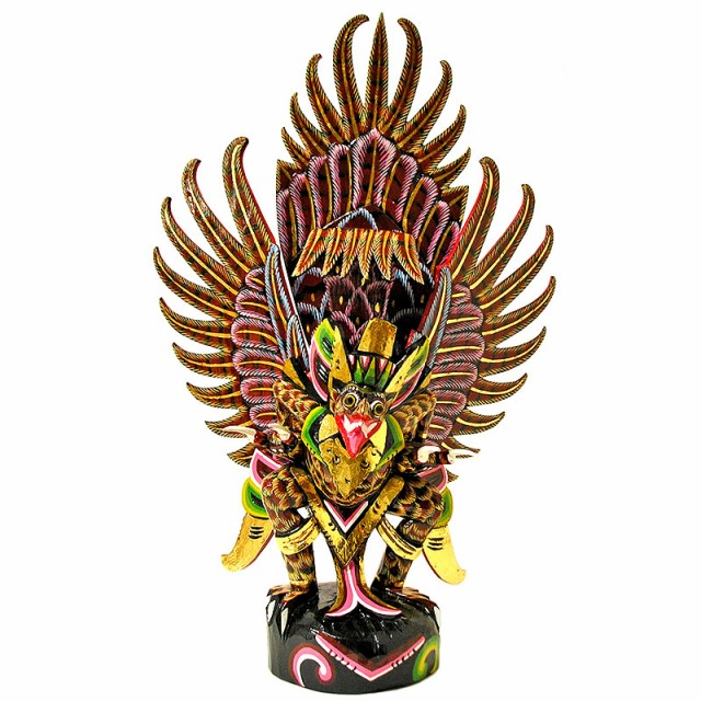霊鳥ガルーダ[約H.65cm]赤黄黒鱗 アジアン 雑貨...
