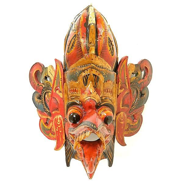 壁掛け 木彫りの『ガルーダ』レッド マスク 木製 ...