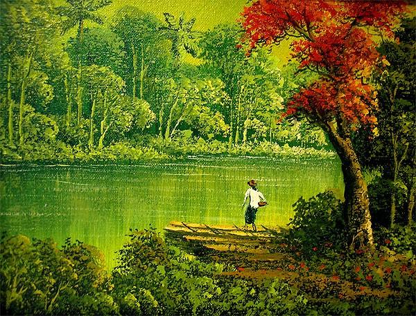 バリアート絵画 M 横 アハマッドの風景画 『森と...