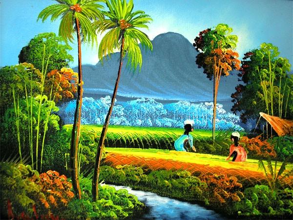 バリアート絵画 M 横 アハマッドの風景画 『アグ...