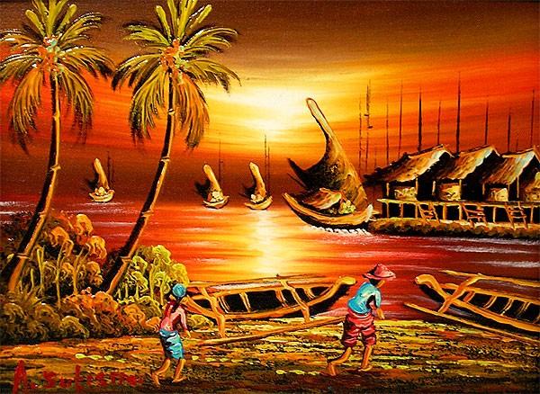 バリアート絵画 M 横 アハマッドの風景画 『夕陽...