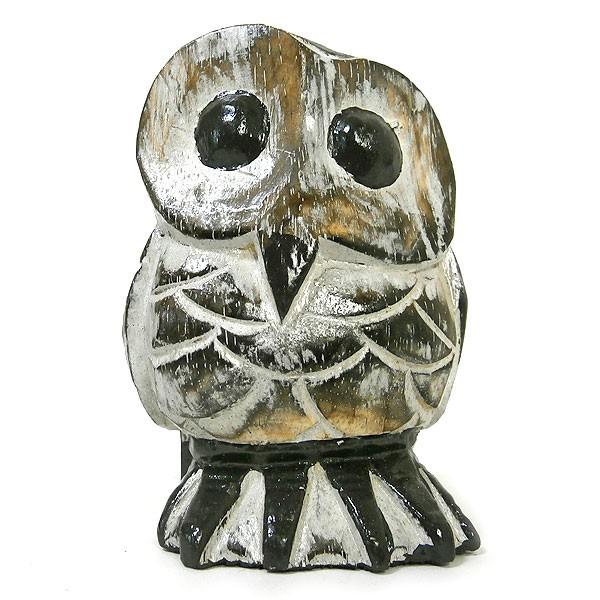 フクロウ インテリア 置物 木彫り ふくろう 木製 ...