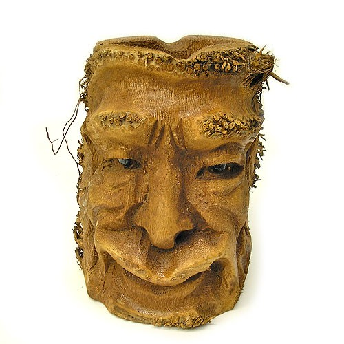 バンブーの根のアートマスク 灰皿 A [H約25cm] エ...