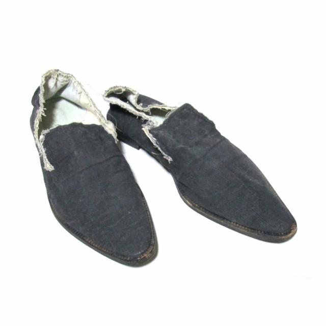 Y's ワイズ「4」デニムスリッポンシューズ (黒 靴...