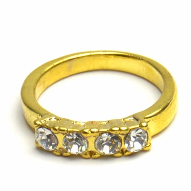 ラインストーン リング ゴールドカラー 指輪 レデ...